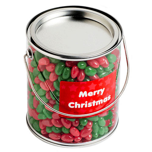 Big PVC Bucket filled with Christmas Jelly Beans 950G
