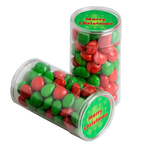 PET Tube filled with Christmas Chewy Fruits 100g
