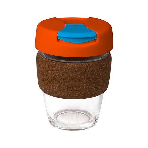 Clear Glass Karma Kup Cork Band Plastic Flip Lid - 340ml