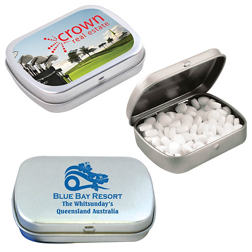 Sugar Free Breath Mints in Silver Tin