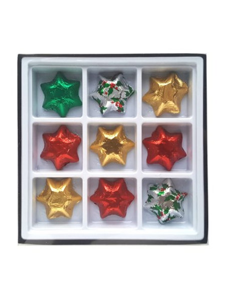 9 X Christmas Chocolate Stars or single colour chocolate stars in a gift box.