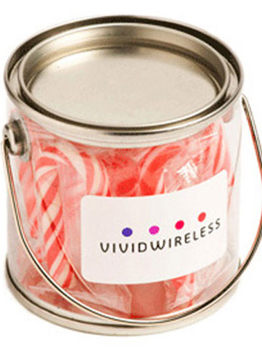 Small PVC Bucket filled with Candy Canes