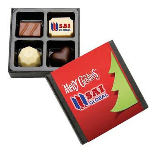 4PC Belgian Chocolate Black Gift Box with Custom Printed Sleeve