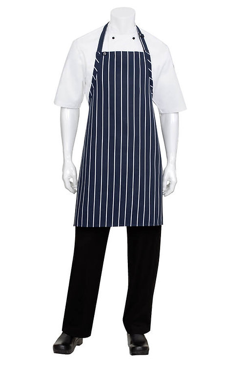 Navy/White Striped Bib Apron No Pocket