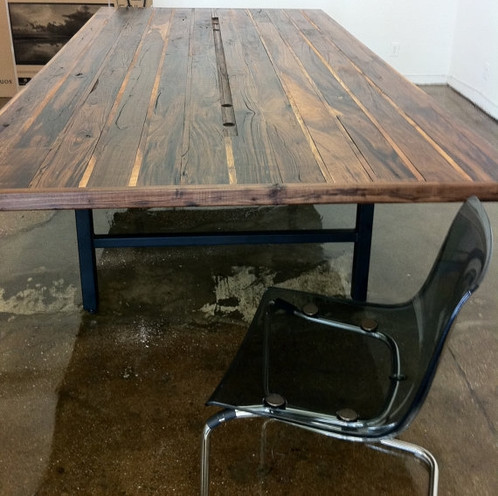 Walnut Conference Table With Steel Base - Handmade conference table