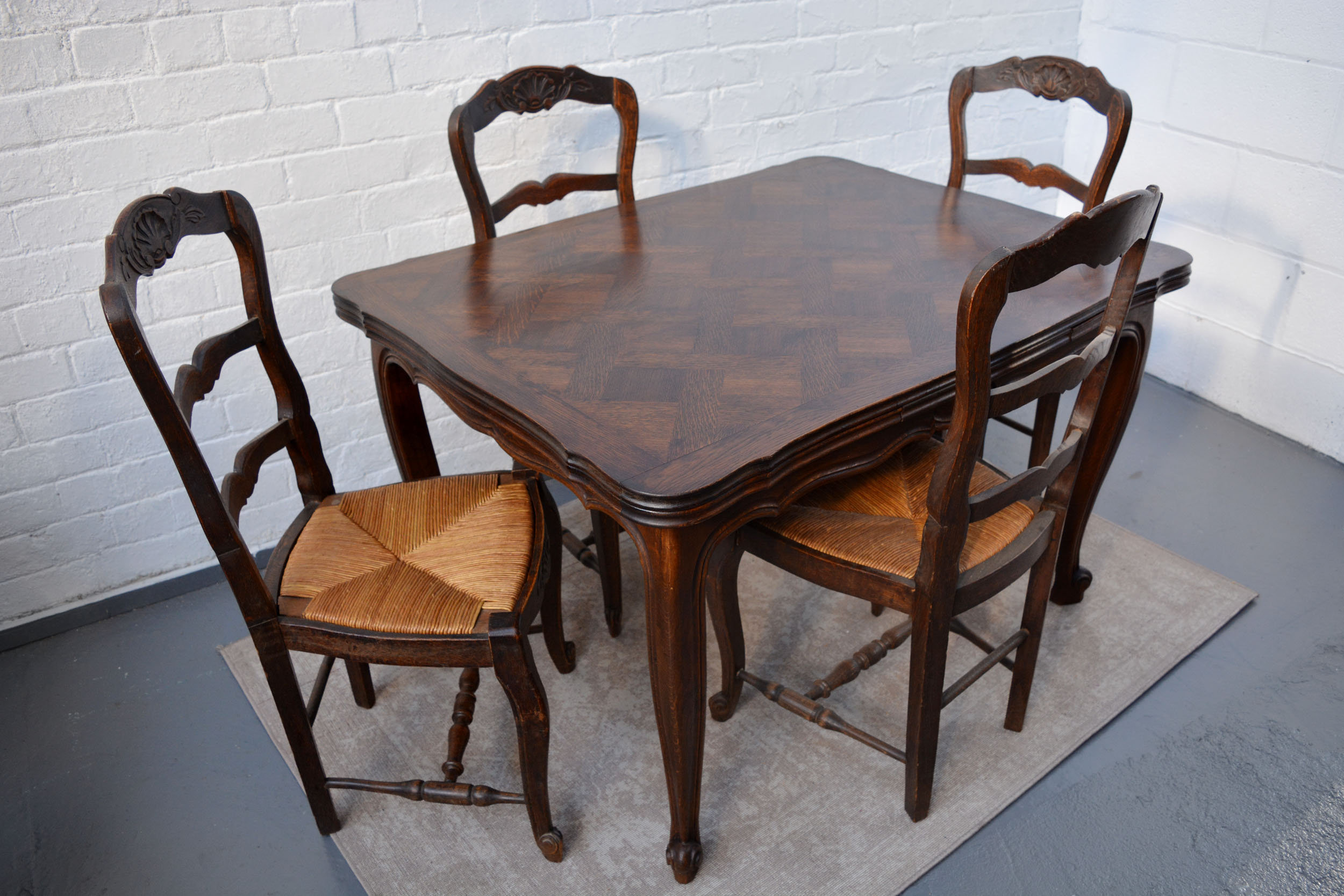 6 Seater Antique French Louis Jacobean Dark Oak Parquetry Extending Dining Table