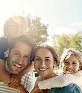 healthy family outside