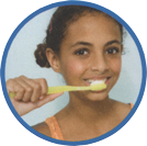 teenager brushing teeth