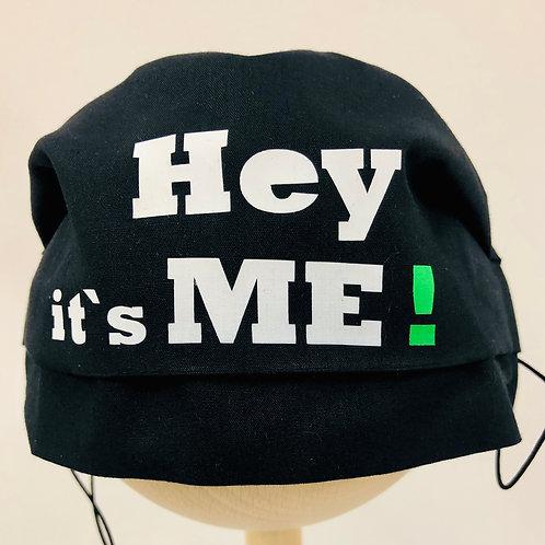 Mund und Nasen Schutzmake Hey its me ! mit grünem Ausrufezeichen