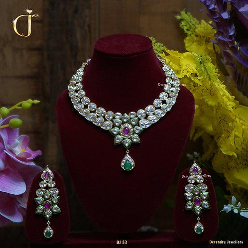 Jadau Necklace with Pink Stones