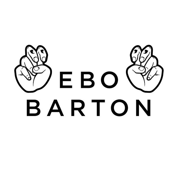 "Two Hands, palms out, each hand has two fingers slightly higher than the rest of the fingers exposing tattooed quotation marks.  Between them is the name, ""Ebo Barton"""