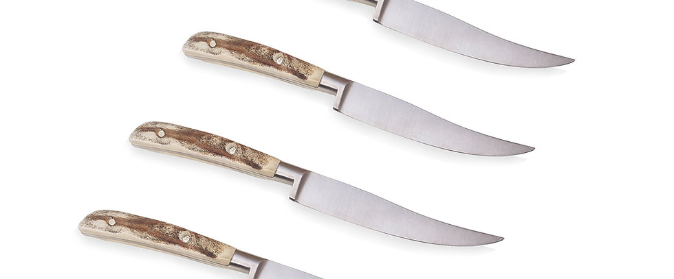 Set of 4 Stag Steak Knives