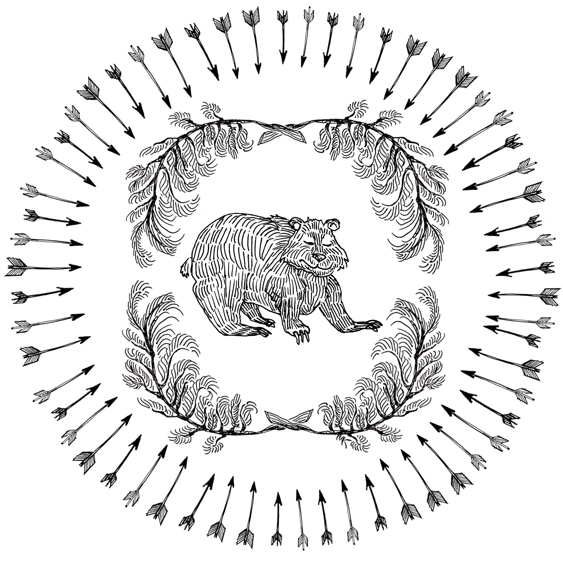 Briar Patch arrows bear pine ink