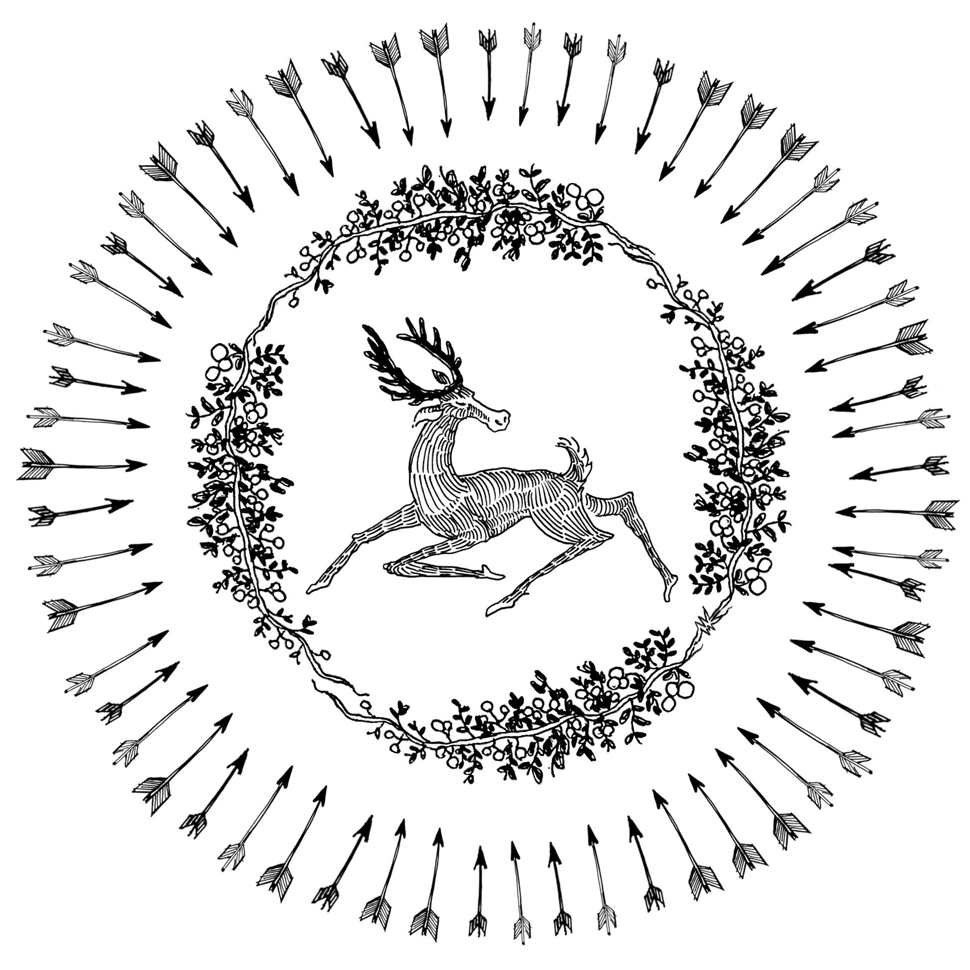 Briar Patch arrows deer holly ink