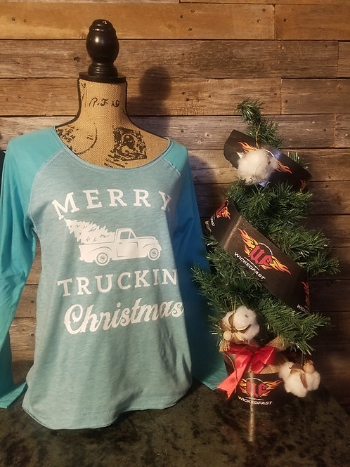 Soft Raglan Long Sleeve Merry Truckin Christmas