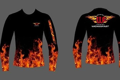 Orange and Red Flames Unisex Performance Long Sleeve