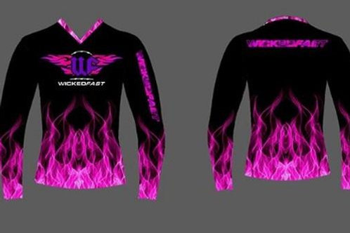 Pink Flames Vneck Unisex Long Sleeve Performance Shirt