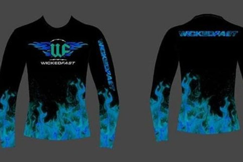 Blue Ice Flames Unisex Performance Long Sleeve