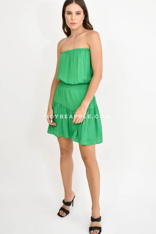 Vestido strapple con resorte cintura satín verde