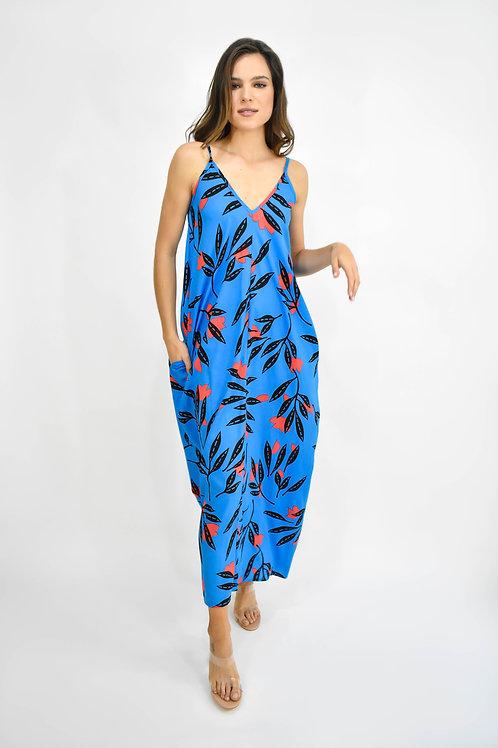 Vestido maxi azul