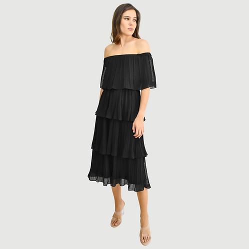 Vestido midi off shoulder plisado negro