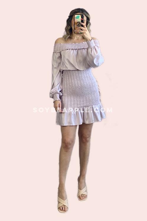 Vestido off manga larga lila