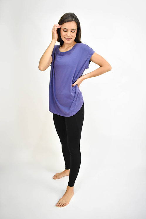 Blusa manga corta detalle espalda azul
