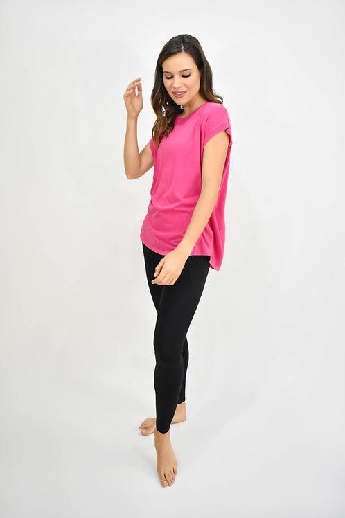 Blusa manga corta detalle espalda rosa