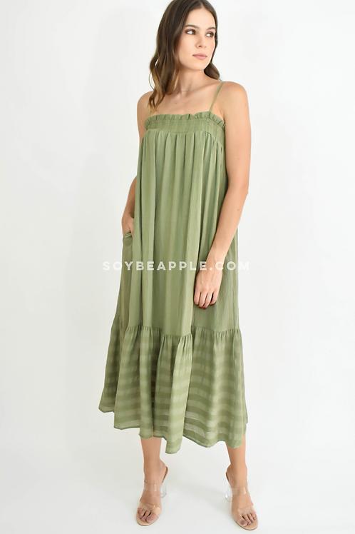 Vestido midi tirantes con bolsas olivo
