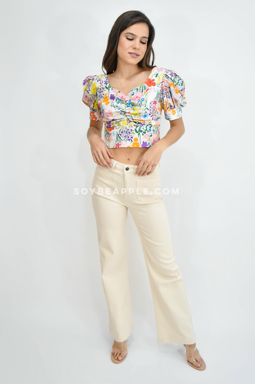 Jeans high rise wide leg flare color ivory