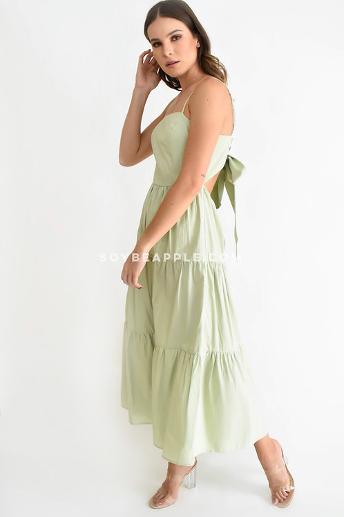 Vestido maxi tirantes detalle moño en espalda verde