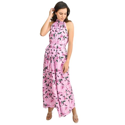 Vestido maxi plisado rosa flores