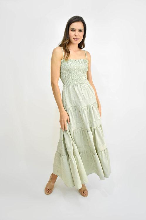 Vestido midi tirantes rayas verde