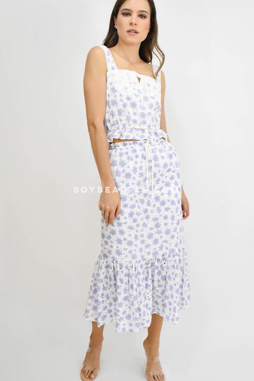 Set crop top y falda midi