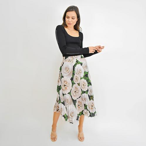 Falda plisada midi flores