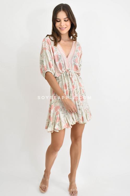 Vestido corto cuello V con jareta en falda print flores