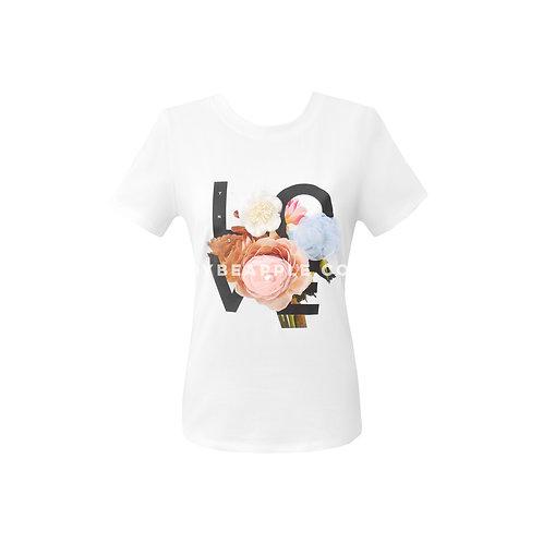 Tshirt love flores blanca