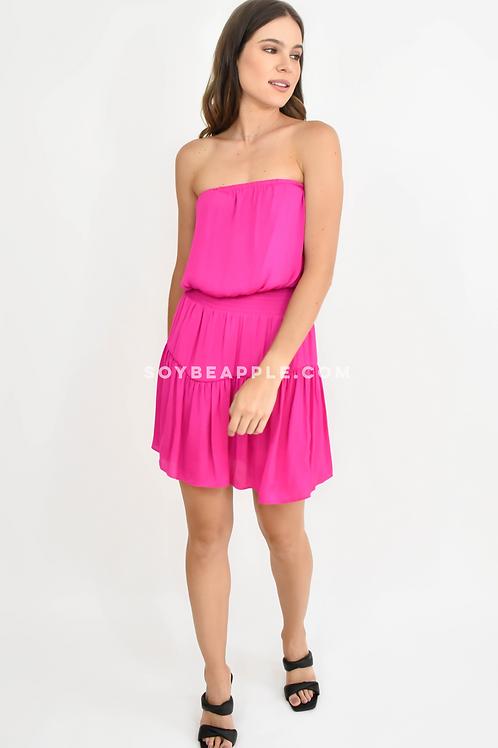 Vestido strapple con resorte cintura satín rosa