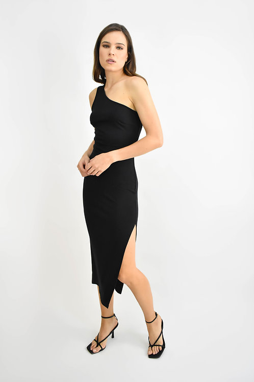 Vestido midi one shoulder negro