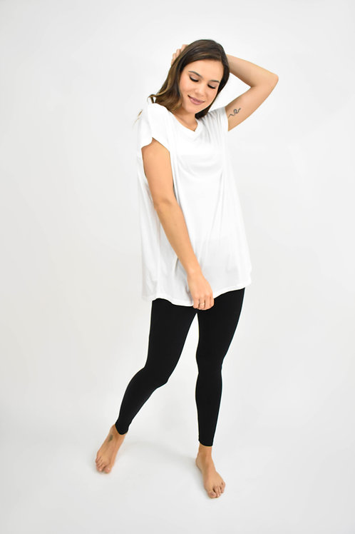 Blusa manga corta detalle espalda blanca