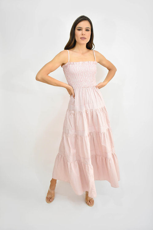 Vestido midi tirantes rayas rosa