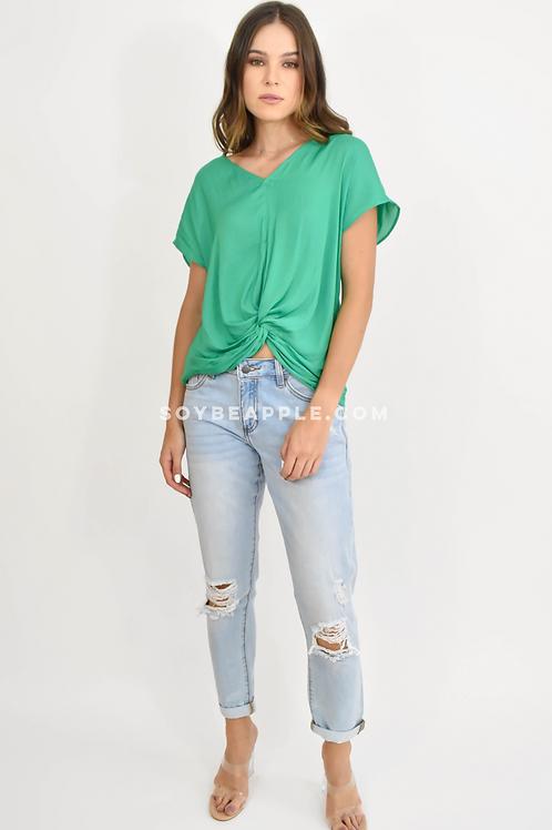 Blusa cuello V verde