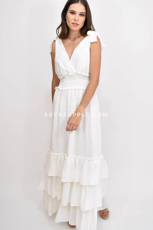 Vestido maxi V tirantes blanco