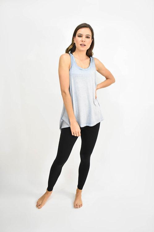 Blusa sin mangas cruzada espalda azul