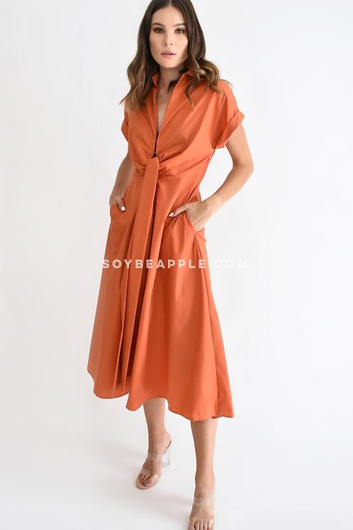 Vestido midi listón cintura naranja