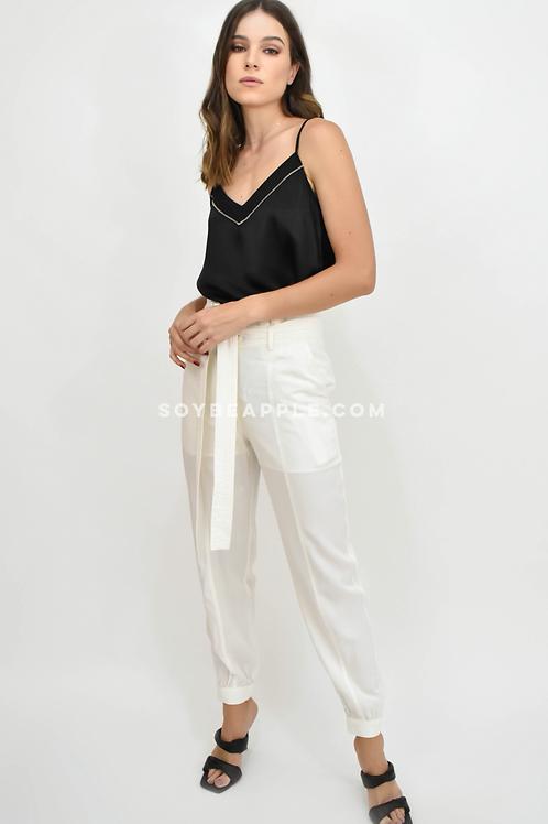 Pantalón high waisted blanco