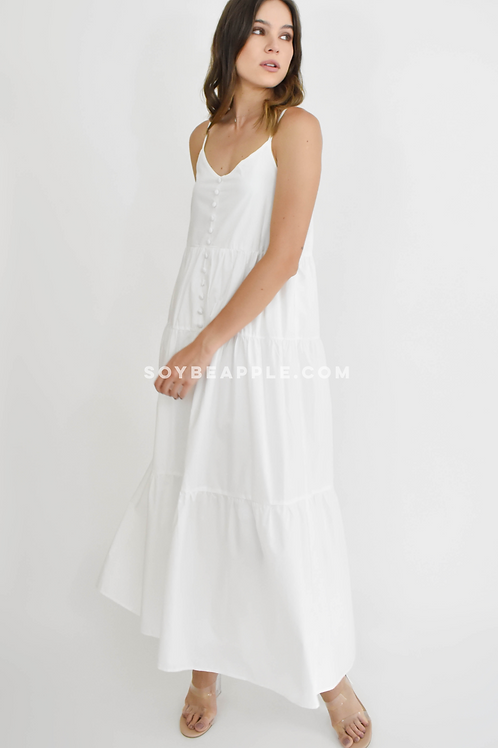 Vestido maxi botones tirantes blanco