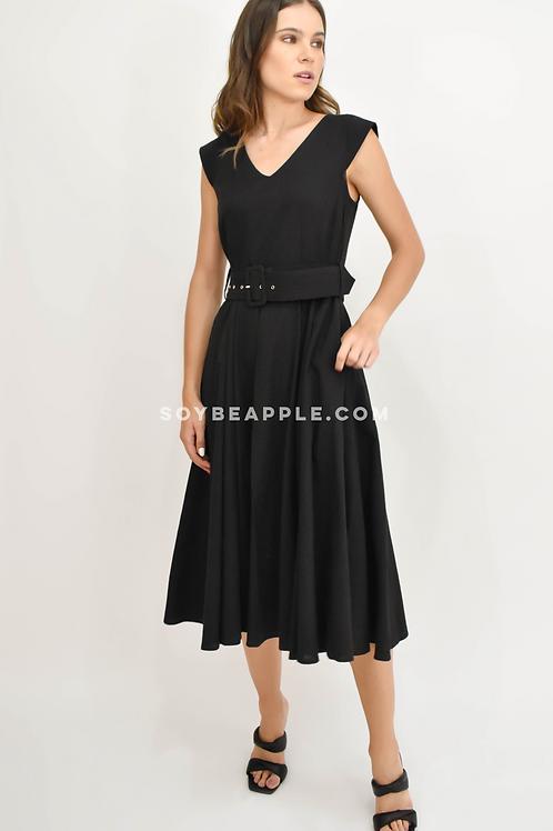 Vestido midi con cinto negro