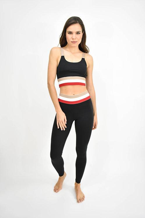 Set top leggins negro nude blanco y rojo