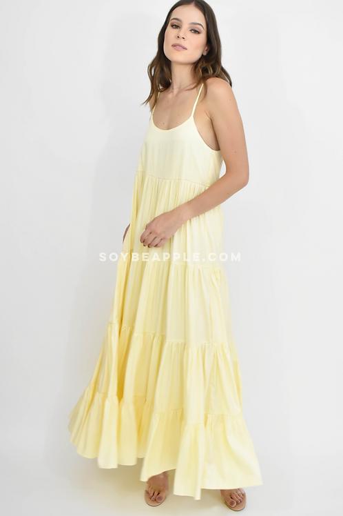 Vestido maxi tirantes amarillo